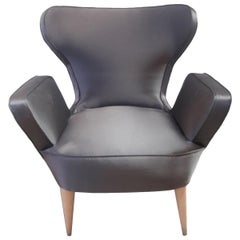 Mid-20th Century Tulip-Style Chair in Grey Silk