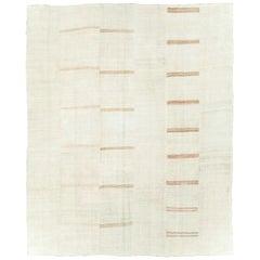 Mid-20th Century Turkish Flat-Weave Kilim Large Room Size Carpet in Cream White