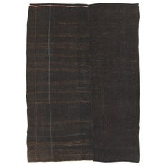Mid-20th Century Turkish Tribal Kilim Room Size Carpet in Dark Brown and Black