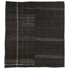 Mid-20th Century Turkish Tribal Kilim Square Room Size Carpet in Charcoal Black