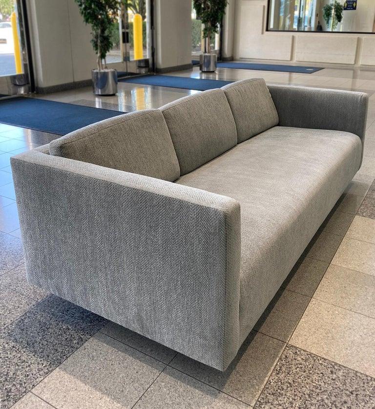 Wool Mid-20th Century Tuxedo Sofa by Harvey Probber