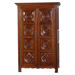 Mid-20th Century Two-Door Continental Carved Oak Armoire