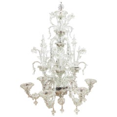 Mid-20th Century Venetian Clear Glass Chandelier