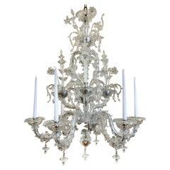 Mid-20th Century Venetian Clear Glass Chandelier