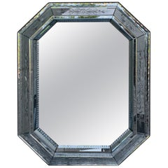Mid-20th Century Venetian Etched Glass Mirror with Floral Motif