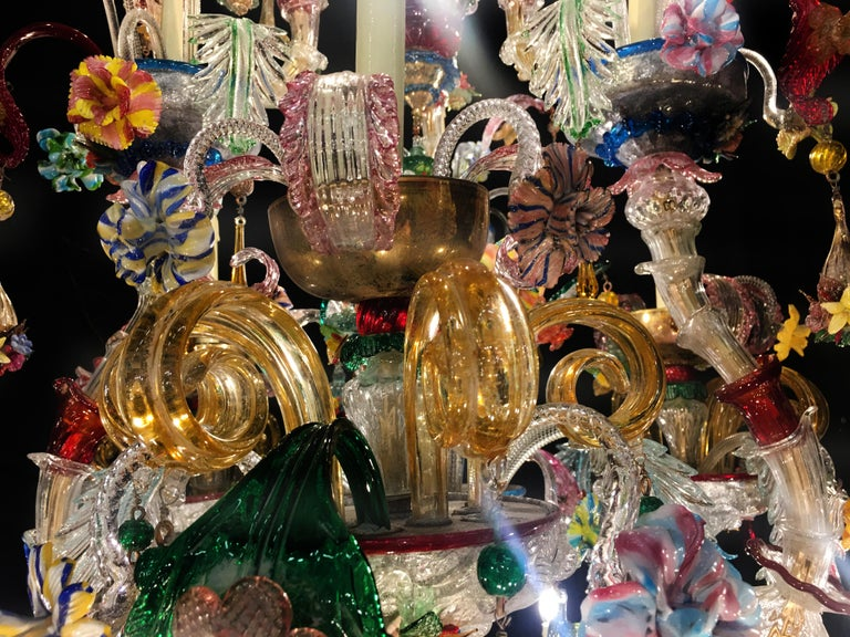 Mid-20th Century Venetian Rezzonico Chandelier 14 Arms, Murano, 1940s In Excellent Condition For Sale In Budapest, HU