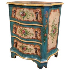 Mid-20th Century Venetian Serpentine Chest of Drawers with Painted Floral Decor