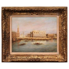 Mid-20th Century Venice Oil Painting in Gilt Frame Signed A. Lemstra Dated 1959