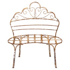 Mid-20th Century Victorian-Style Wrought Iron Curved Garden Patio Bench