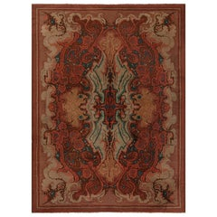 Mid-20th Century Viennese Art Deco Handmade Wool Rug in Shades of Red