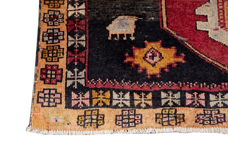 Mid-20th Century Vintage Azeri Runner Rug For Sale 4