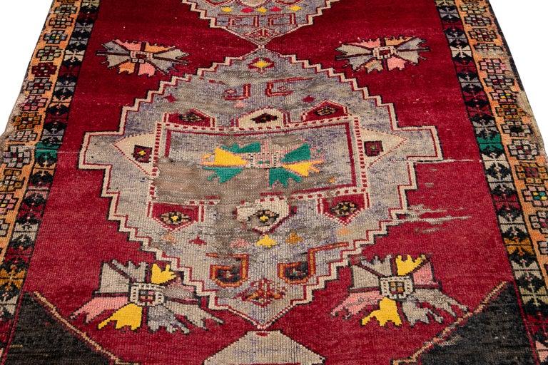 Mid-20th Century Vintage Azeri Runner Rug For Sale 5