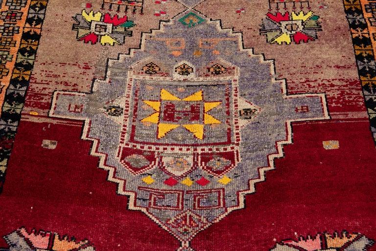 Mid-20th Century Vintage Azeri Runner Rug For Sale 6