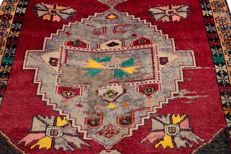 Mid-20th Century Vintage Azeri Runner Rug For Sale 7