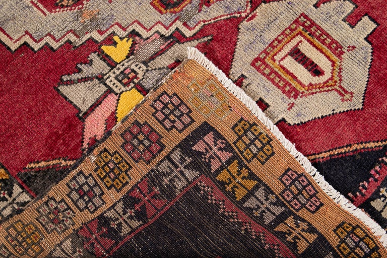 Hand-Knotted Mid-20th Century Vintage Azeri Runner Rug For Sale
