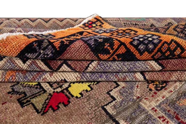 Mid-20th Century Vintage Azeri Runner Rug In Excellent Condition For Sale In Norwalk, CT