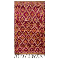 Mid-20th Century Vintage Colorful Geometric Moroccan Wool Rug