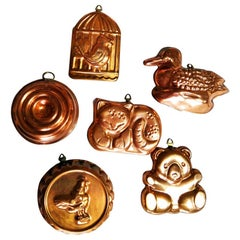 Mid-20th Century Vintage Copper Molds, Lot of Six