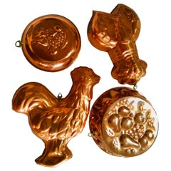 Mid-20th Century Vintage Copper Molds, Lot of 4