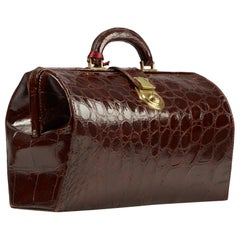 Mid-20th Century Vintage Crocodile Gladstone Bag English Circa 1950
