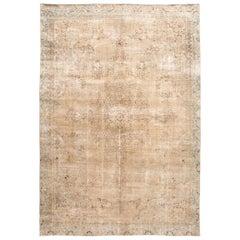 Mid-20th Century Vintage Distressed Tabriz Wool Rug