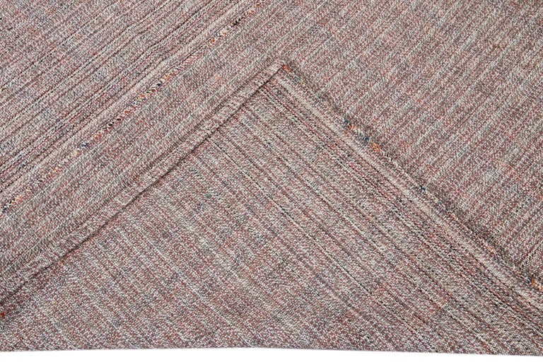 Modern Mid-20th Century Vintage Flat-Weave Rug For Sale