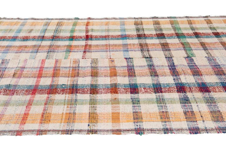 Mid-20th Century Vintage Flat-Weave Rug For Sale 6