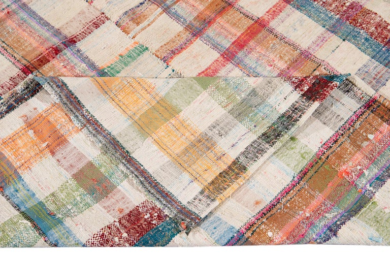 Hand-Knotted Mid-20th Century Vintage Flat-Weave Rug For Sale