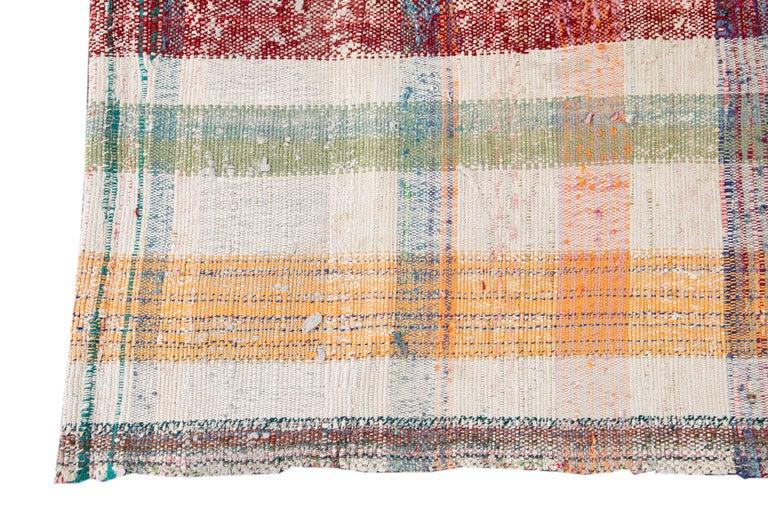 Wool Mid-20th Century Vintage Flat-Weave Rug For Sale