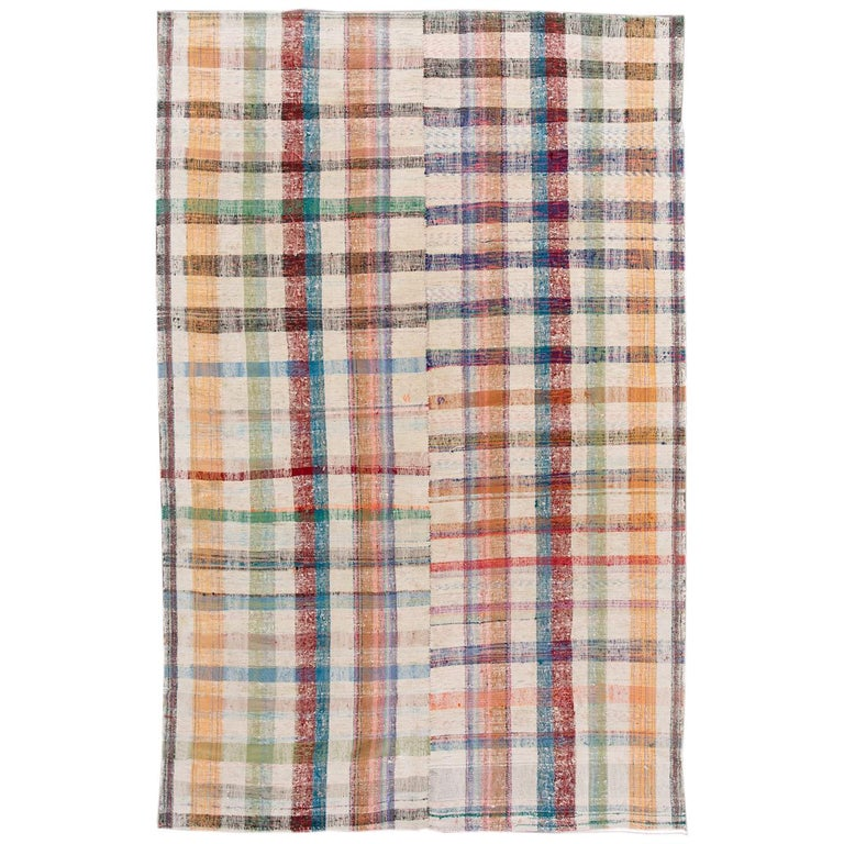 Mid-20th Century Vintage Flat-Weave Rug For Sale