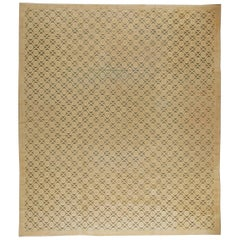 Mid-20th Century Vintage French Modern Handwoven Wool Rug in Shades of Beige