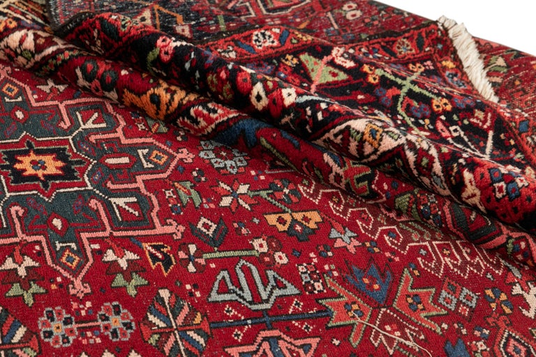 Hand-Knotted Mid-20th Century Vintage Heriz Rug For Sale