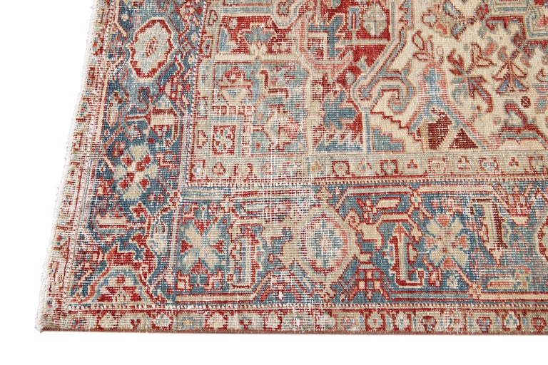 Mid-20th Century Vintage Heriz Wool Rug In Good Condition For Sale In Norwalk, CT