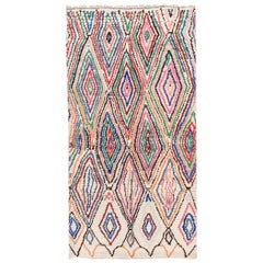 Mid-20th Century Vintage Ivory Tribal Moroccan Wool Rug