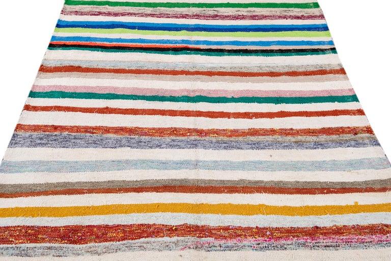 Mid-20th Century Vintage Kilim Wool Rug For Sale 8