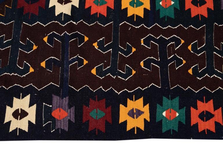 Persian Mid-20th Century Vintage Kilim Wool Rug For Sale
