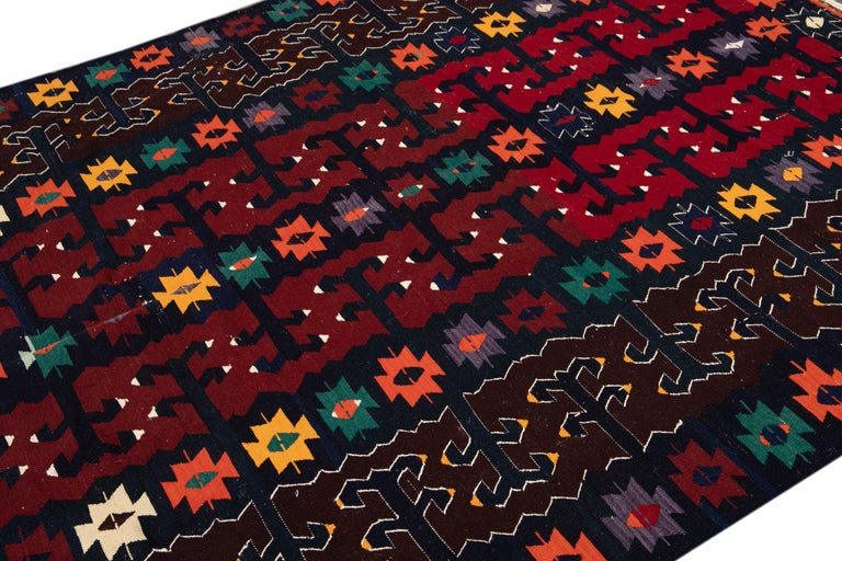 Hand-Knotted Mid-20th Century Vintage Kilim Wool Rug For Sale