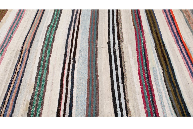 Mid-20th Century Vintage Kilim Wool Rug For Sale 1