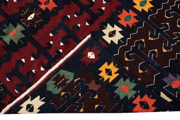 Mid-20th Century Vintage Kilim Wool Rug For Sale 1