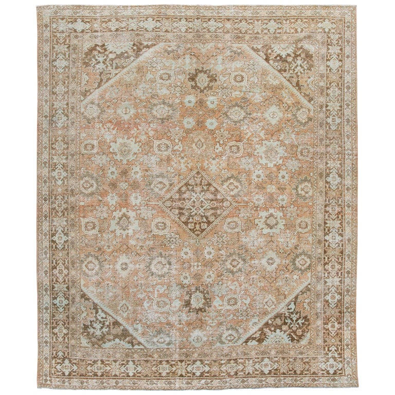 Mid-20th Century Vintage Mahal Wool Rug For Sale