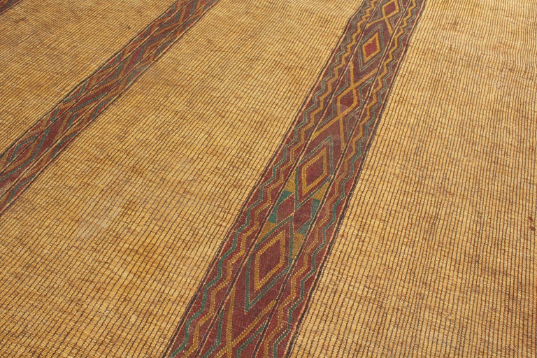 Mid-20th Century Vintage Moroccan Leather Tuareg Rug North Africa For Sale 6