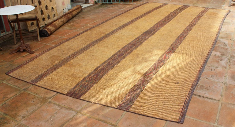 Hand-Crafted Mid-20th Century Vintage Moroccan Leather Tuareg Rug North Africa For Sale