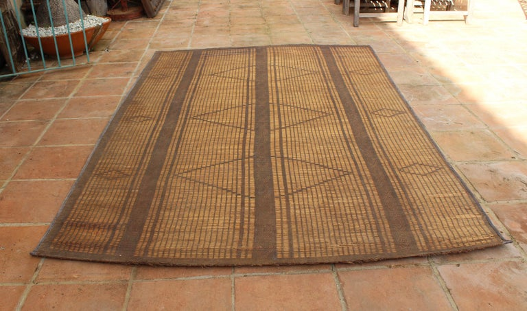 Hand-Crafted Mid-20th Century Vintage Moroccan Leather Tuareg Rug, North Africa