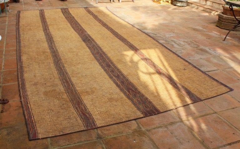 Mid-20th Century Vintage Moroccan Leather Tuareg Rug North Africa In Good Condition For Sale In Malaga, ES