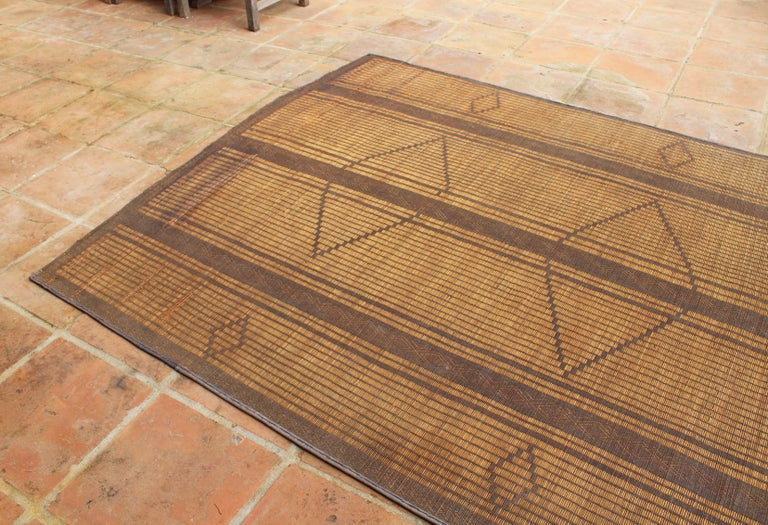 Mid-20th Century Vintage Moroccan Leather Tuareg Rug, North Africa In Good Condition In Malaga, ES
