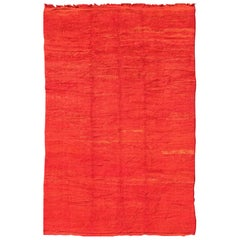 Large Mid-20th Century Vintage Moroccan Rug with Solid Variegated Red Background