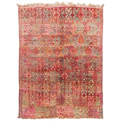 Mid-20th Century Vintage Orange Tribal Moroccan Wool Rug