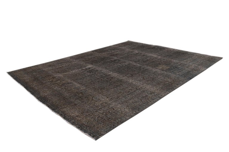 Mid-20th Century Vintage Overdyed Wool Rug For Sale 9