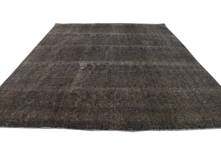Mid-20th Century Vintage Overdyed Wool Rug For Sale 10
