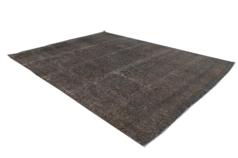 Mid-20th Century Vintage Overdyed Wool Rug For Sale 11